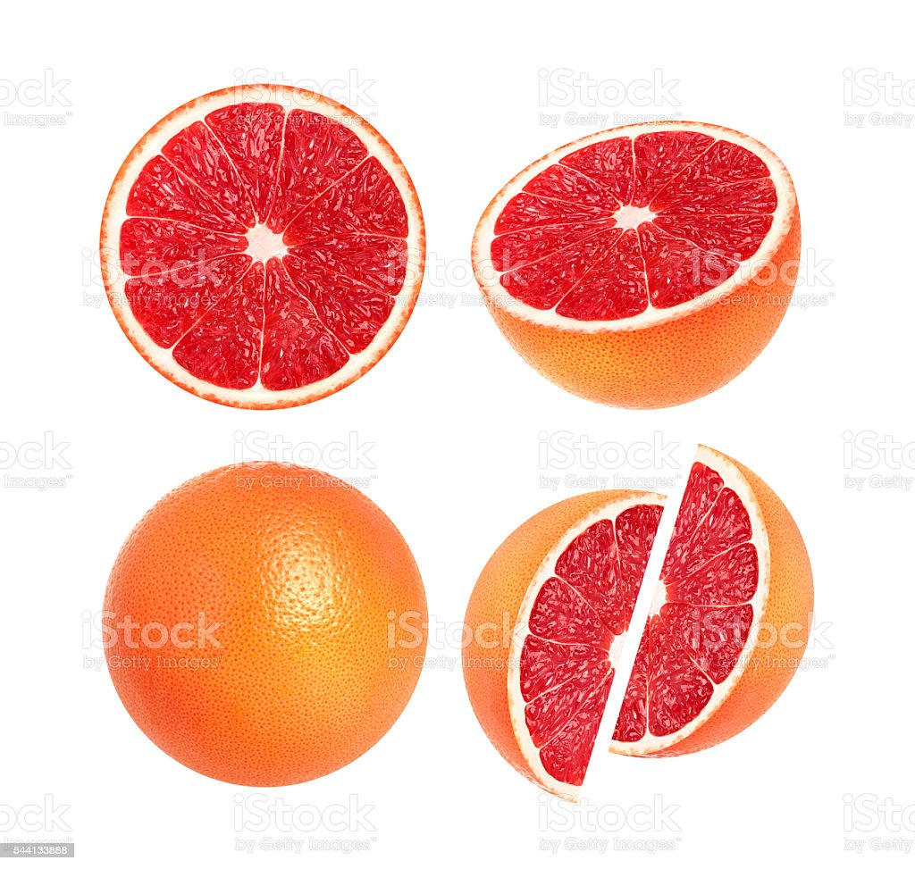 Collection of whole grapefruit and slices isolated on white background stock photo