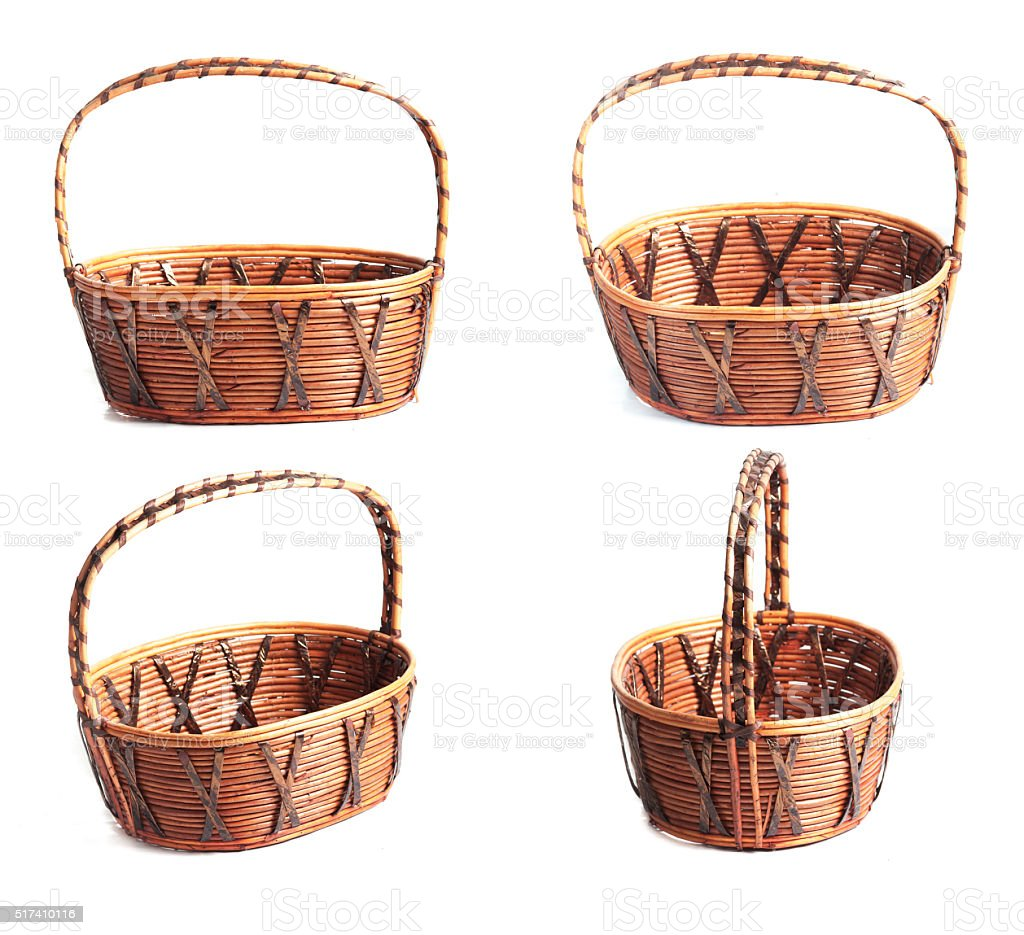Collection of wicker basket isolated on white stock photo