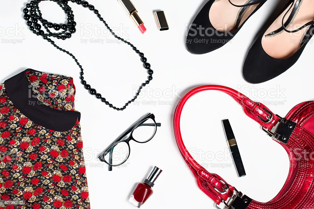 collection of woman clothing isolated white background stock photo