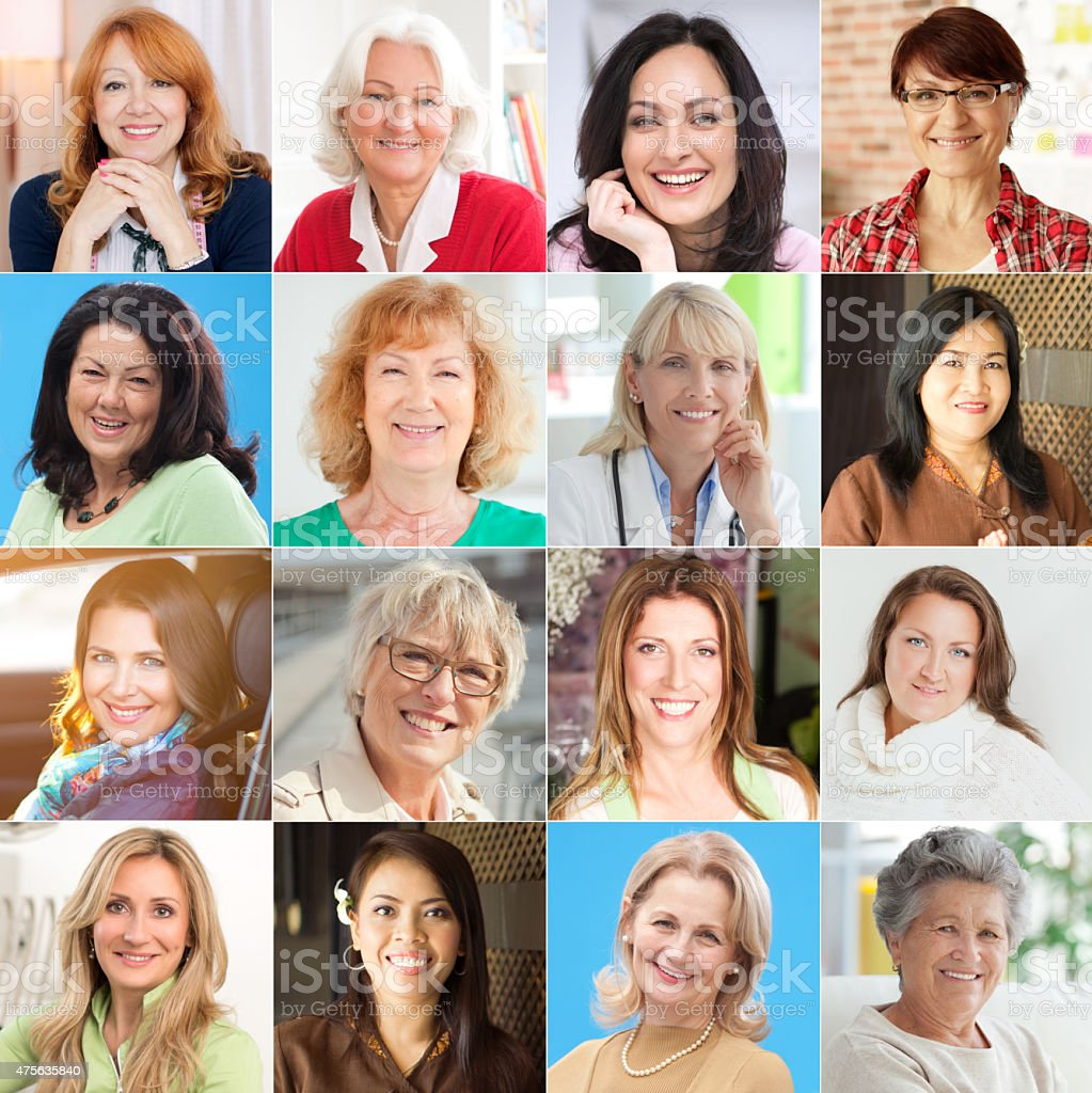 Collection of women portraits looking at camera and smiling. stock photo