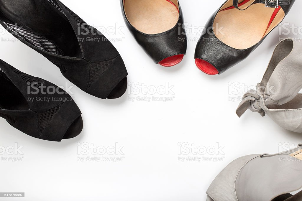 Collection of women shoes on a white background stock photo