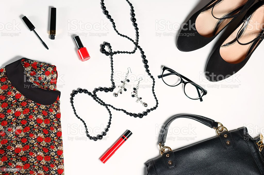 collection of women's clothing isolated white background stock photo