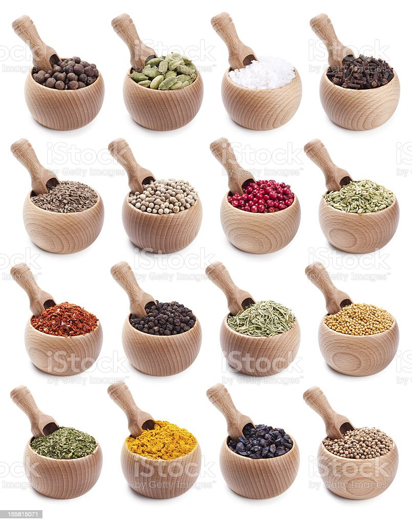 collection of wooden bowls with different spices royalty-free stock photo