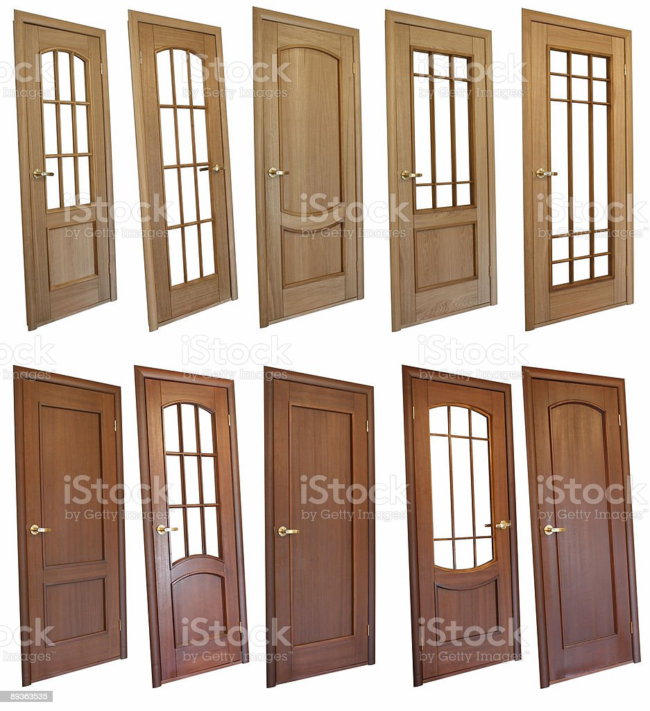 Collection of wooden doors royalty-free stock photo