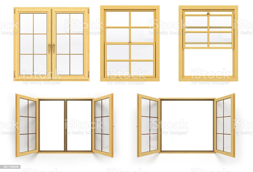 collection of wooden windows 3d render isolated on white backgro stock photo