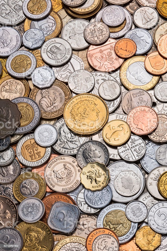 Collection of Worldwide Coins stock photo