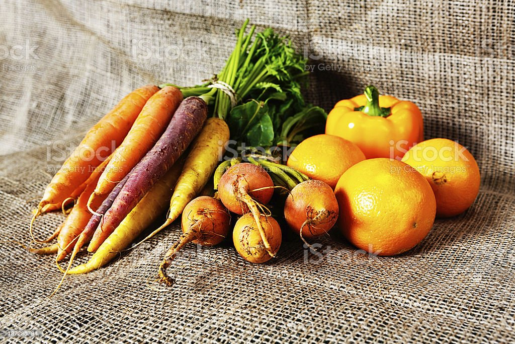 Collection of yellow-toned vegetables: golden goodness stock photo