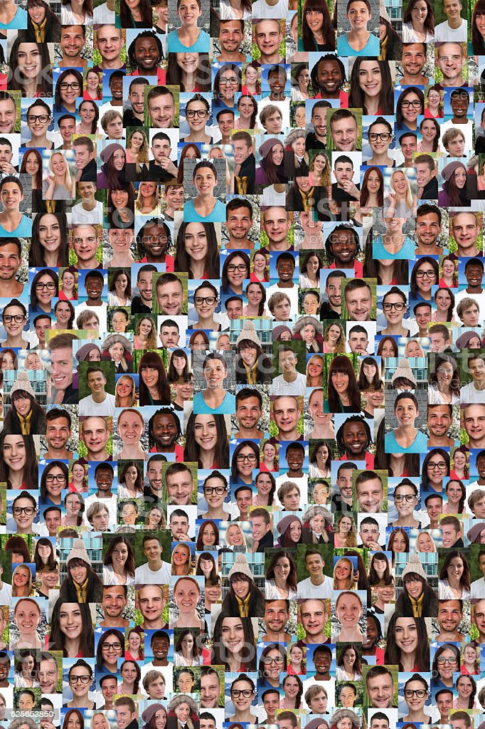 Collection of young people background collage large group stock photo