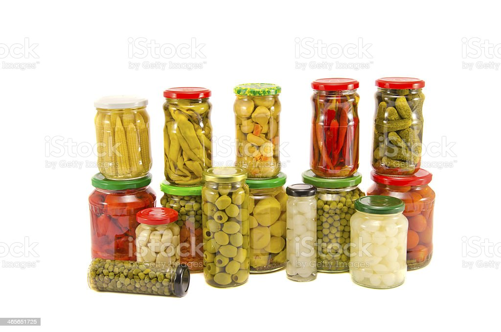 collection potted various vegetable jars isolated on white royalty-free stock photo