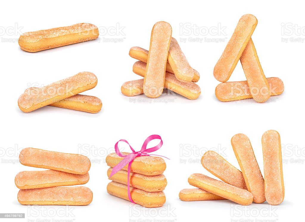 collection Savoyardy Cookies for tiramisu isolated on white background stock photo
