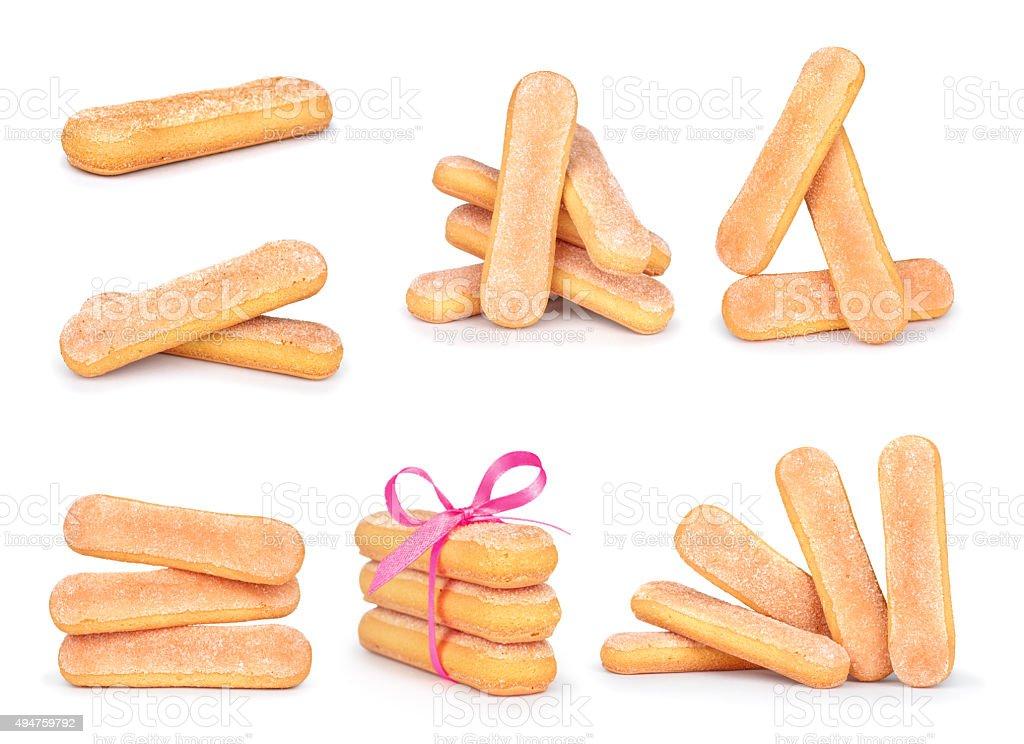 collection Savoyardy Cookies for tiramisu isolated on white background stock photo