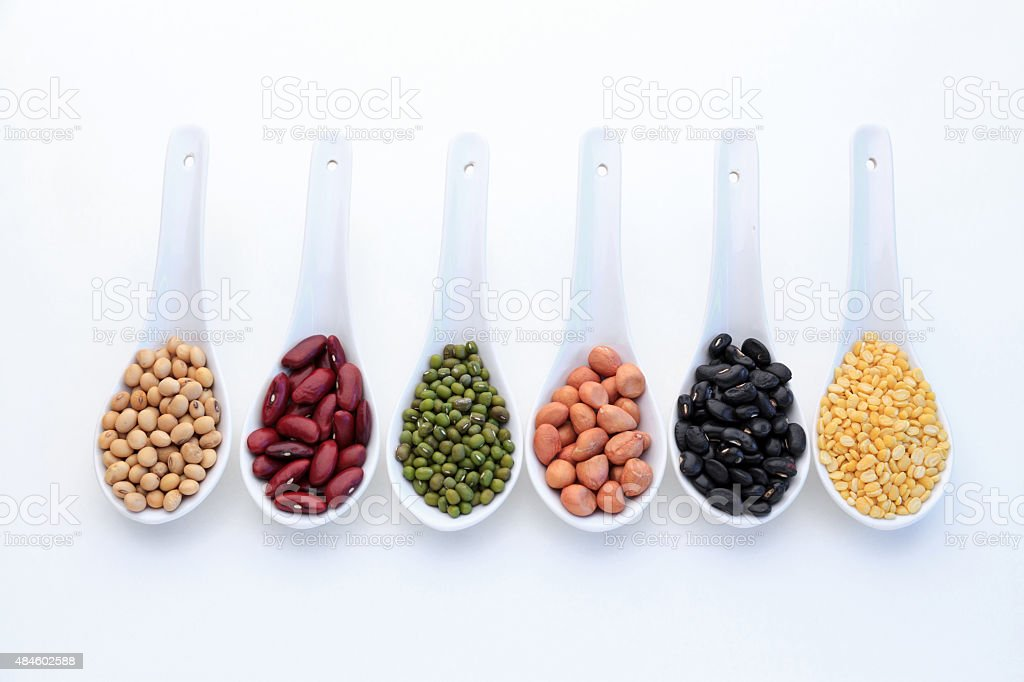Collection set of beans stock photo