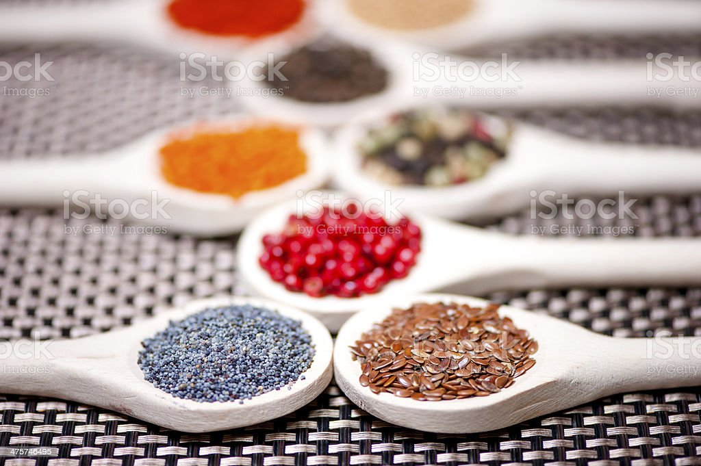 collection set of spiceswith beans, legumes, peas, lentils royalty-free stock photo
