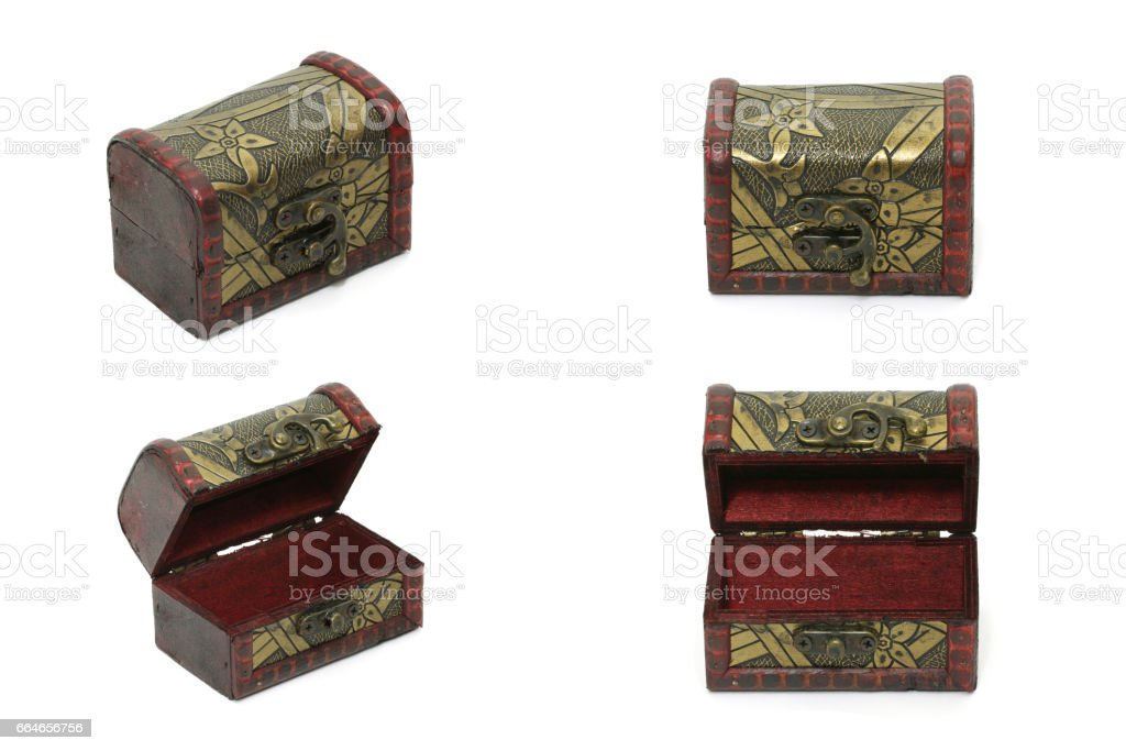 Collection set of Treasure box, Vintage Old Storage Box Isolated On White Background stock photo