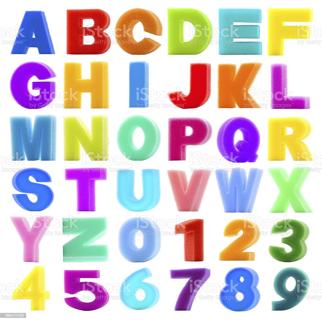 collection sponge alphabet and number on white background royalty-free stock photo