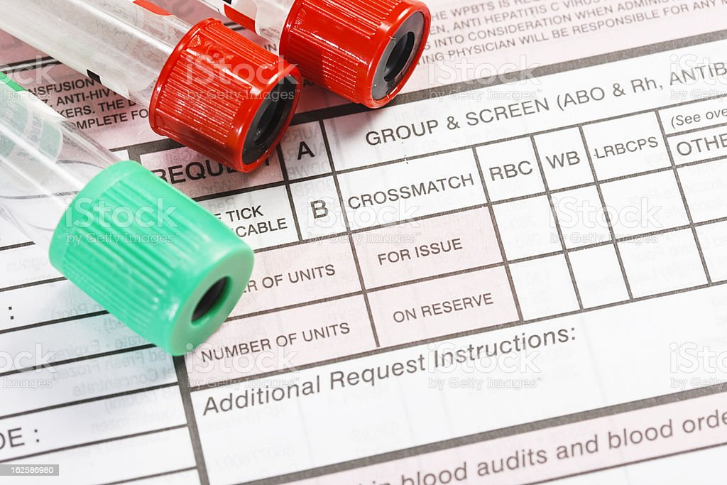 Collection tubes and form for ordering blood group testing royalty-free stock photo