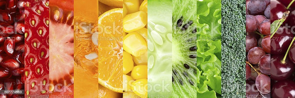 Collection with different fruits and vegetables stock photo