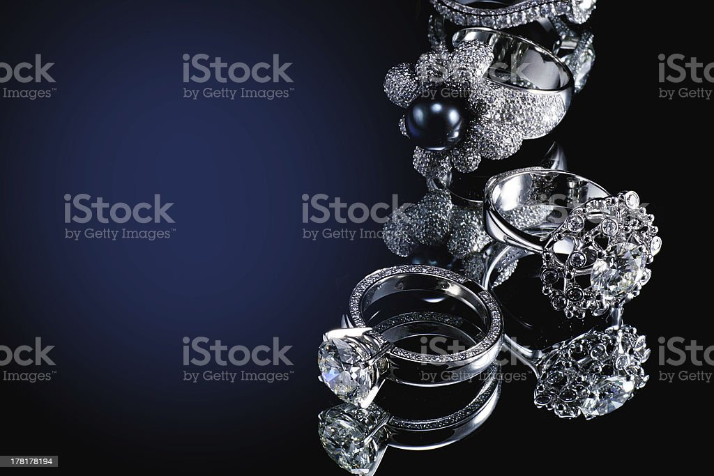Collectionsof rings with diamond stock photo