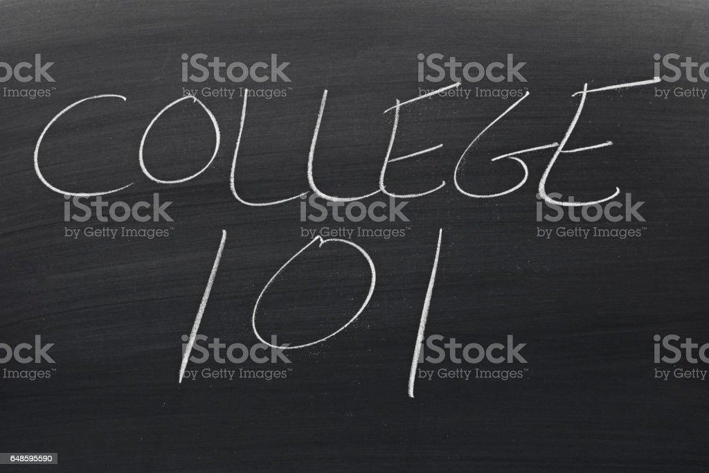 College 101 On A Blackboard stock photo