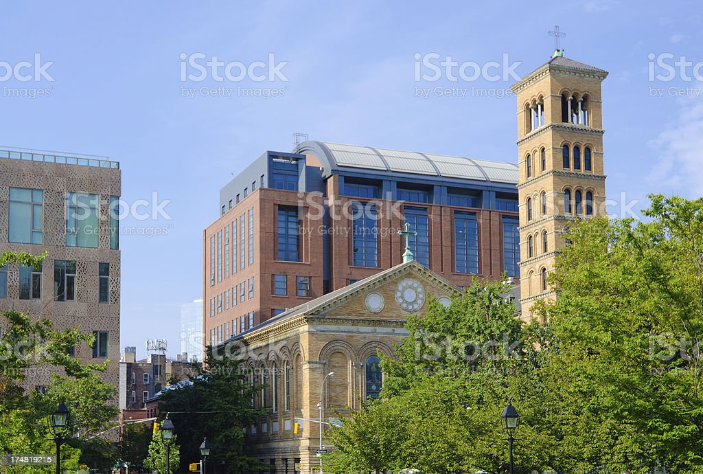 College buildings at New York University in Greenwich Village royalty-free stock photo