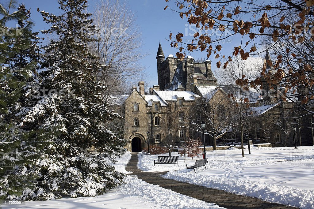 College Campus in winter stock photo