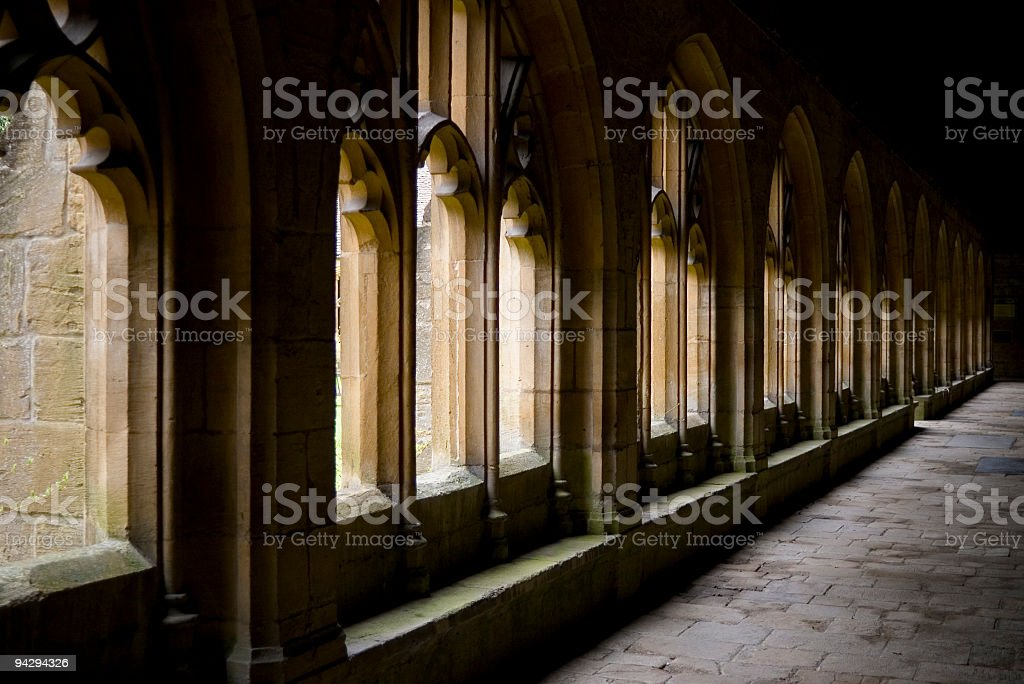 College cloisters stock photo