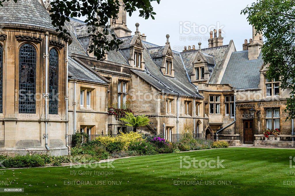 College Courtyard in Cambridge stock photo