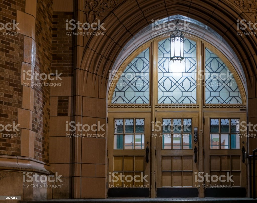 College Doorway at Night royalty-free stock photo