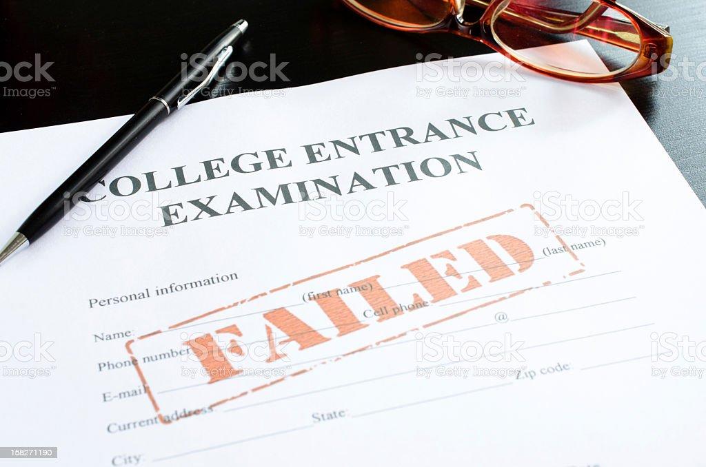 college entrance examination - failed royalty-free stock photo