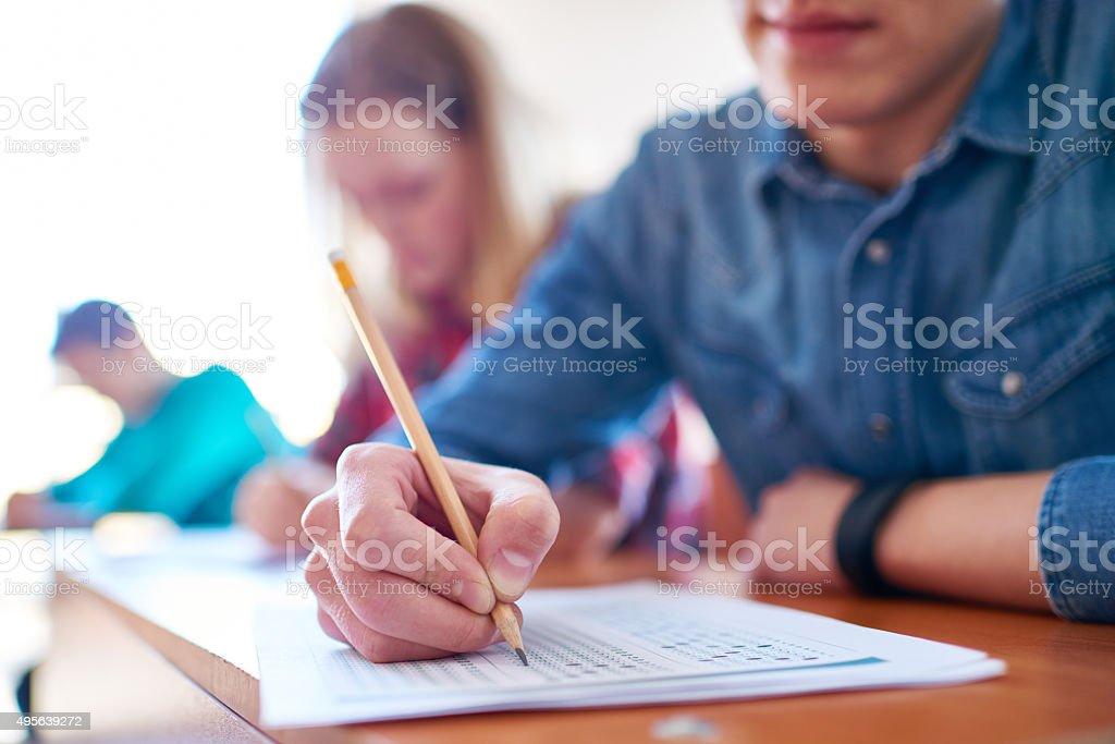 College examination stock photo