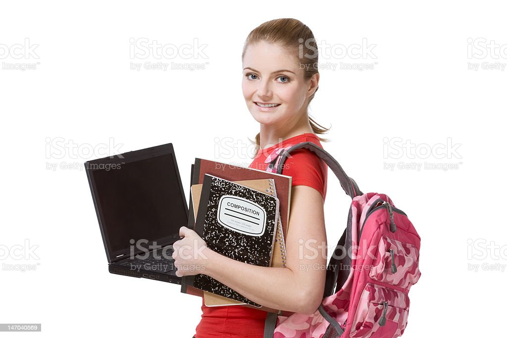college female student girl with laptop, backpack royalty-free stock photo
