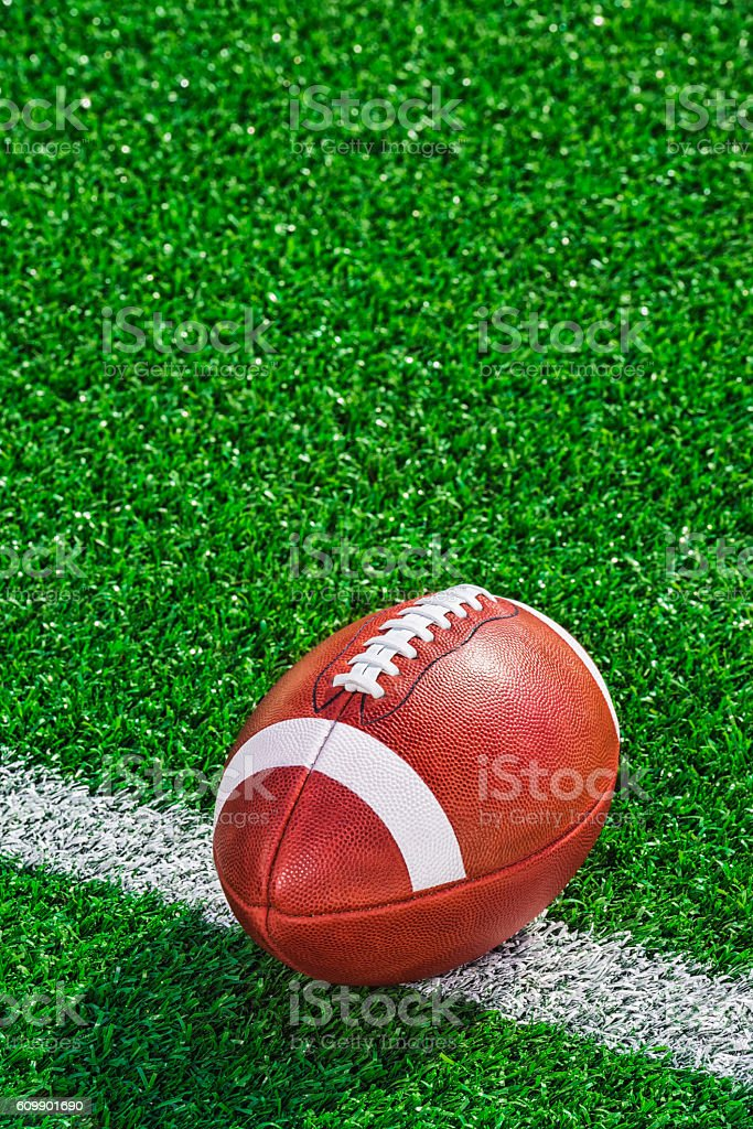 College football sitting on the 20 yard line stock photo