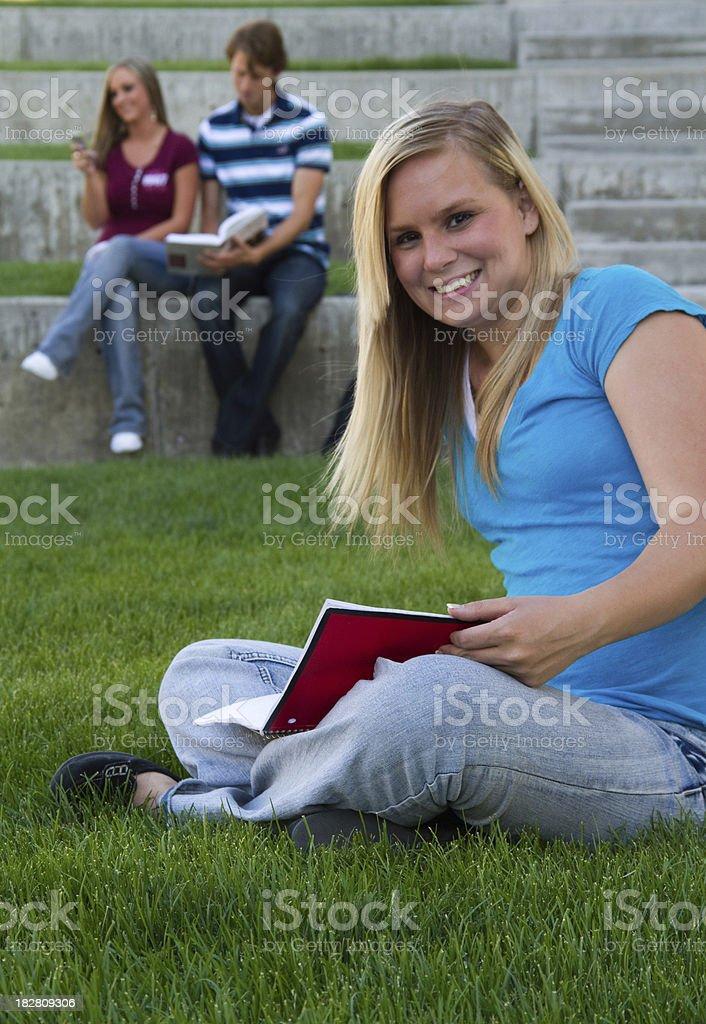 College Freshman studies her notes stock photo