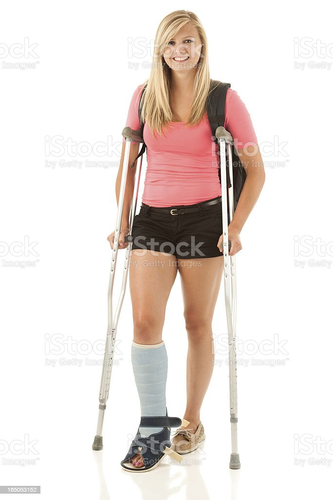 College Freshman Woman on Crutches, Positive Accessibility stock photo