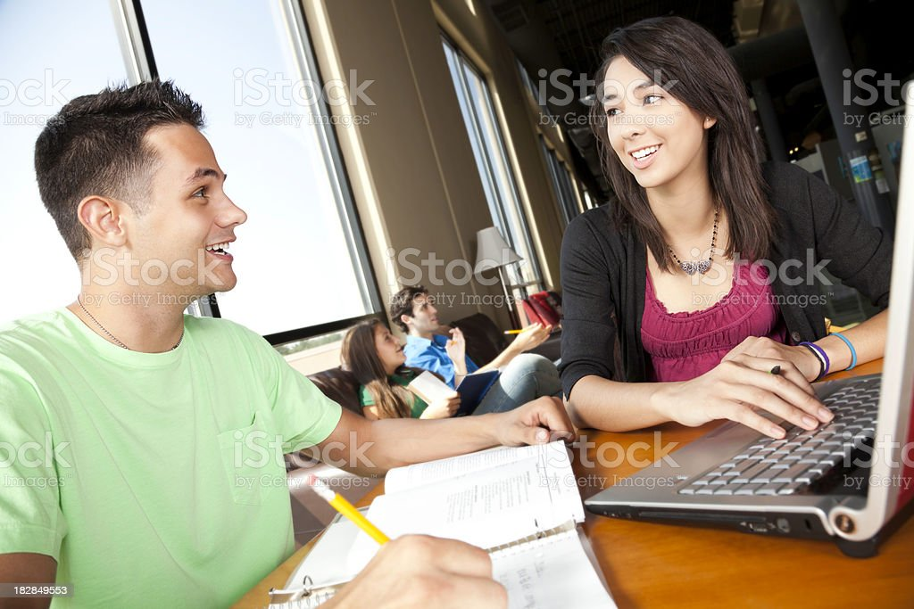 College Friends Studying Together at the Library royalty-free stock photo