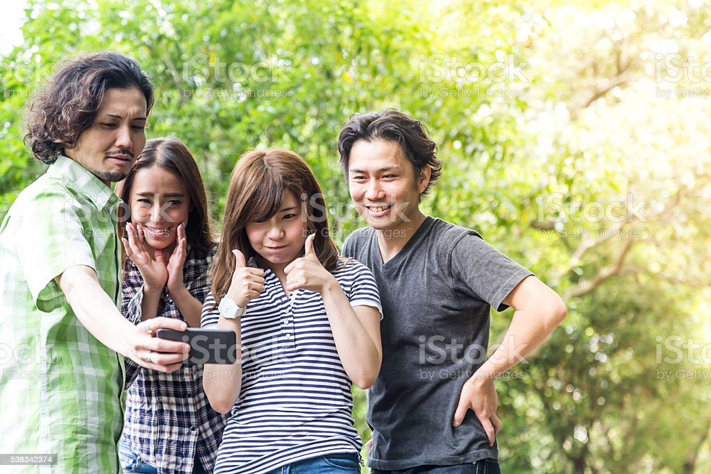 College Friends taking selfie stock photo