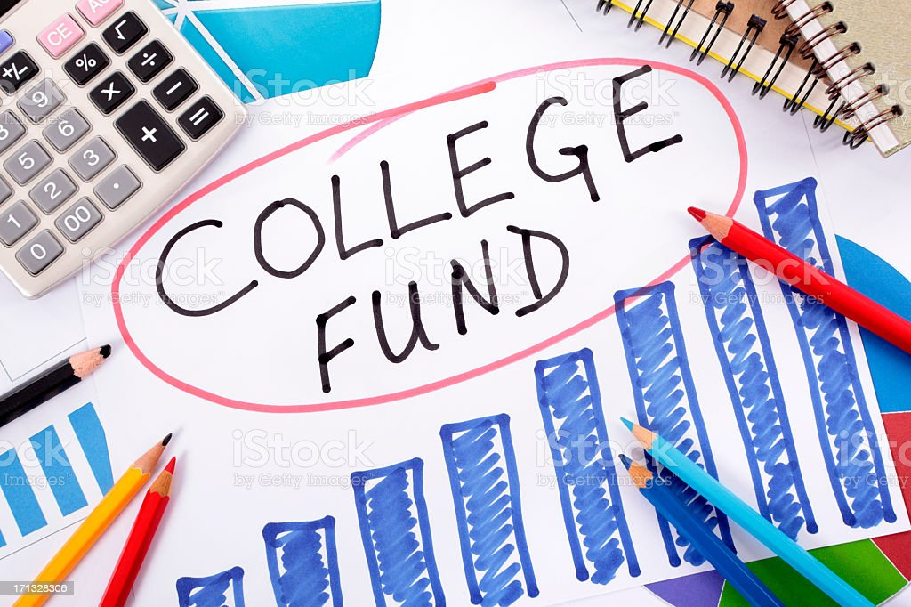 College fund planning graph with colorful pencils royalty-free stock photo