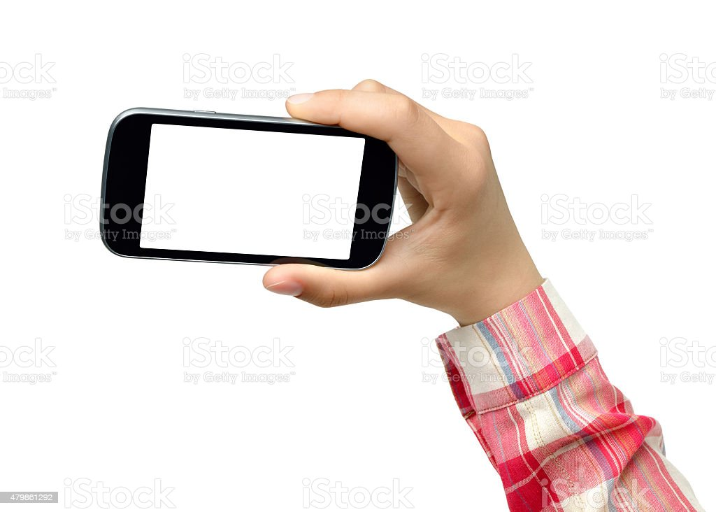 College Girl Holding Smartphone stock photo