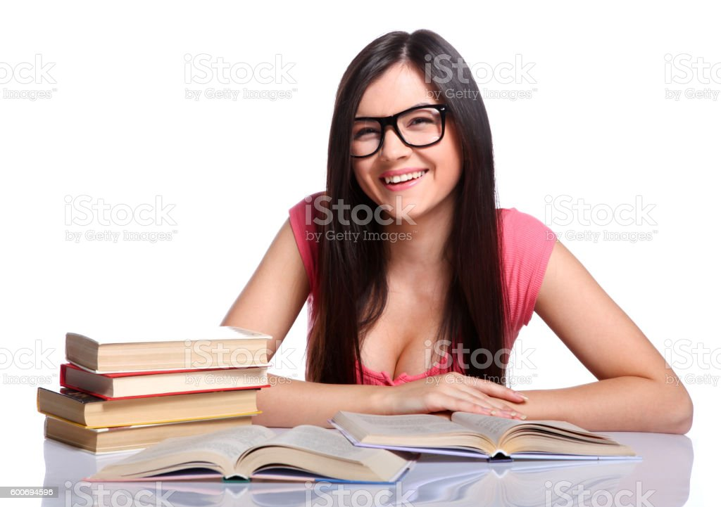 College girl with books stock photo