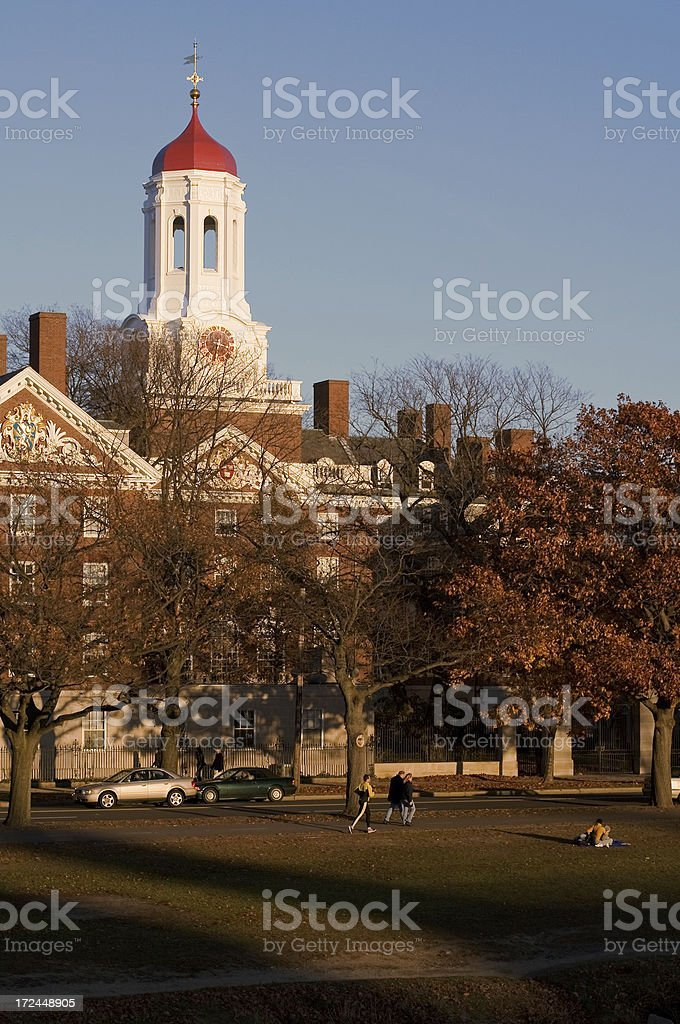 College housing, red cupola, fall afternoon light stock photo