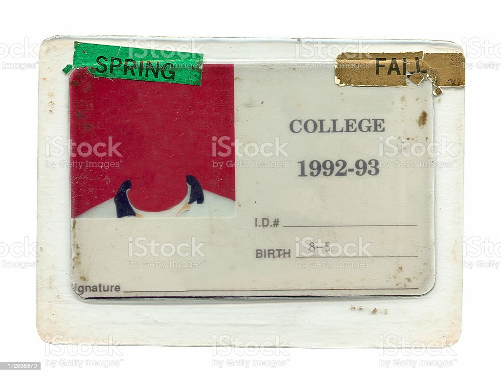 College ID - Grunge stock photo