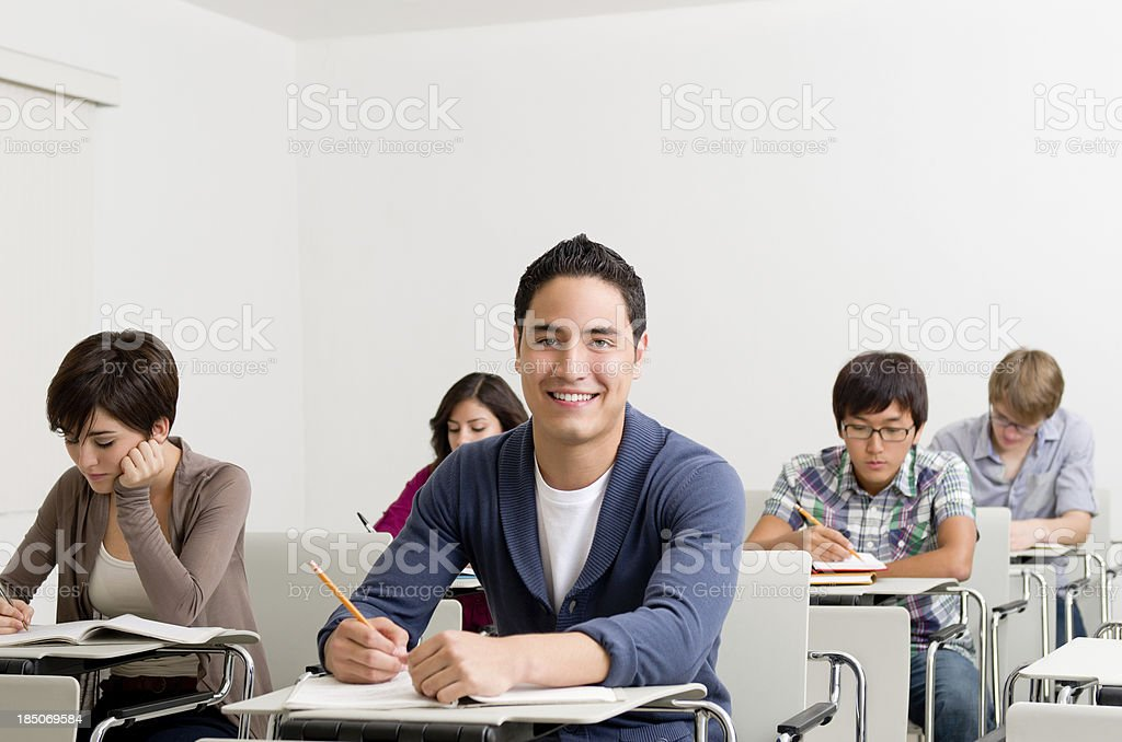 College man in the classroom royalty-free stock photo