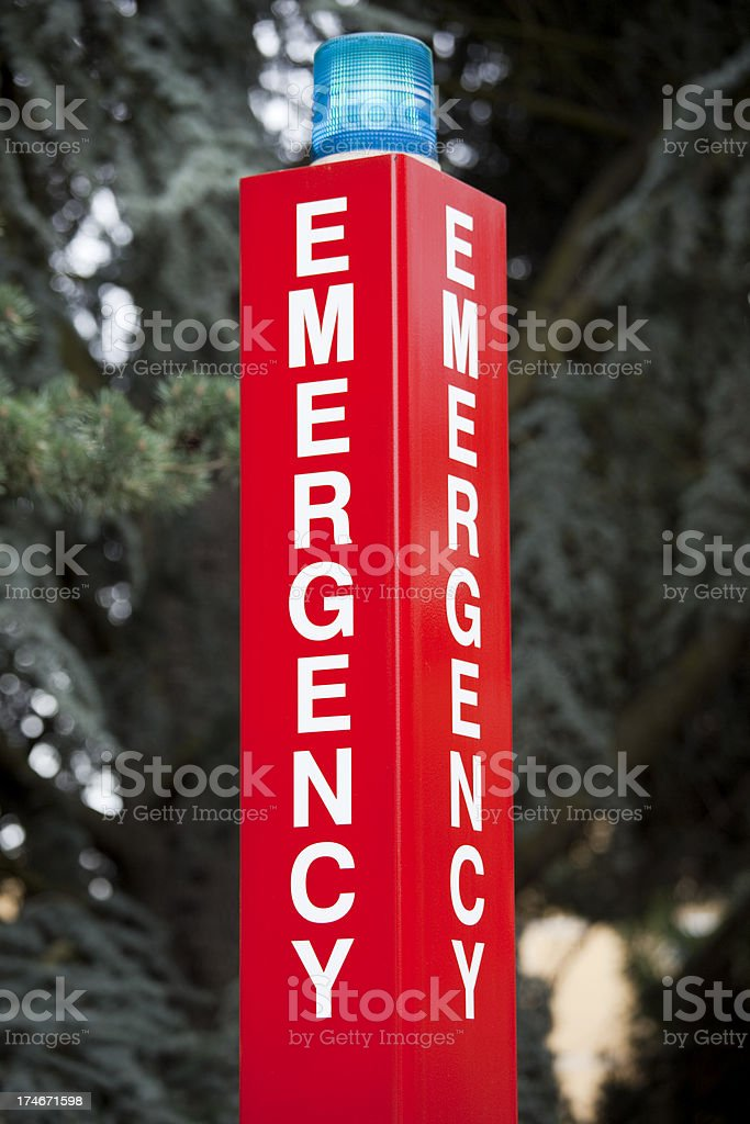 College or University Campus Emergency Call Station Sign royalty-free stock photo