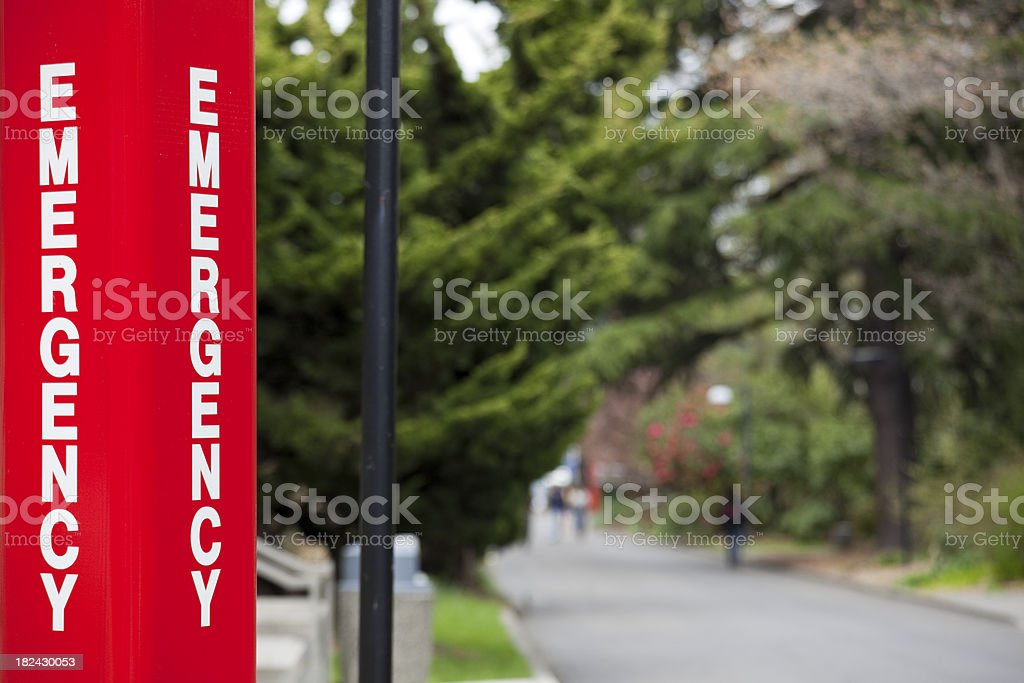 College or University Campus Emergency Call Station Sign stock photo