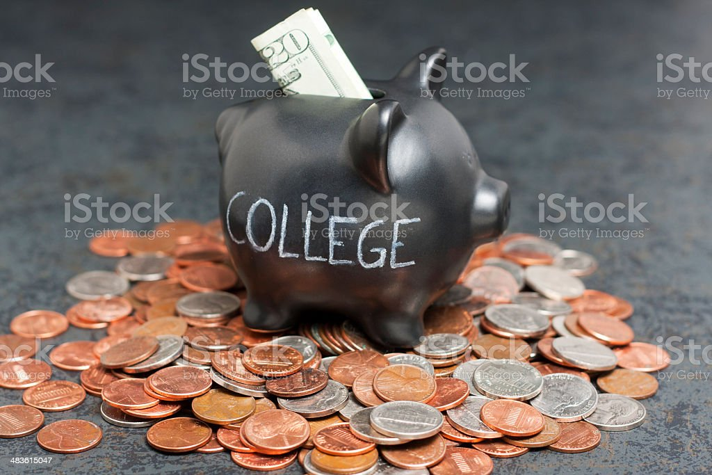 'College' Piggy Bank on Coins with Cash royalty-free stock photo