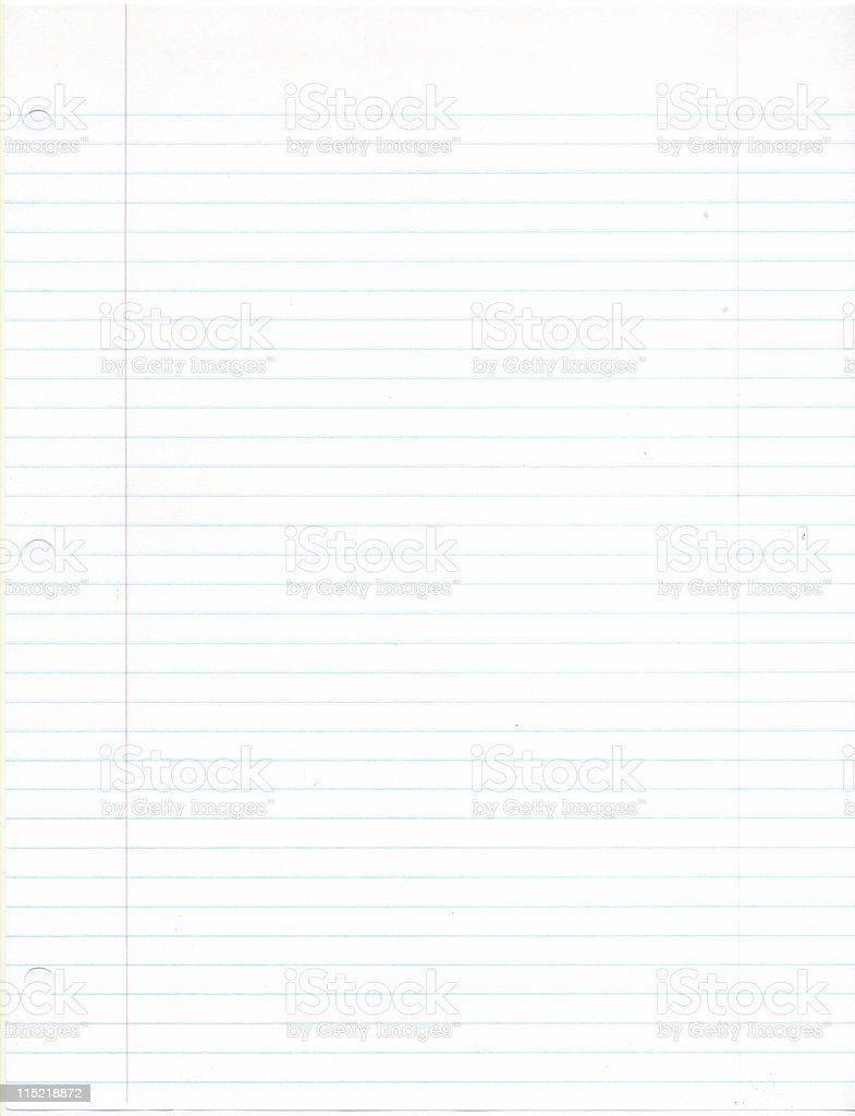 College ruled white binder paper royalty-free stock photo