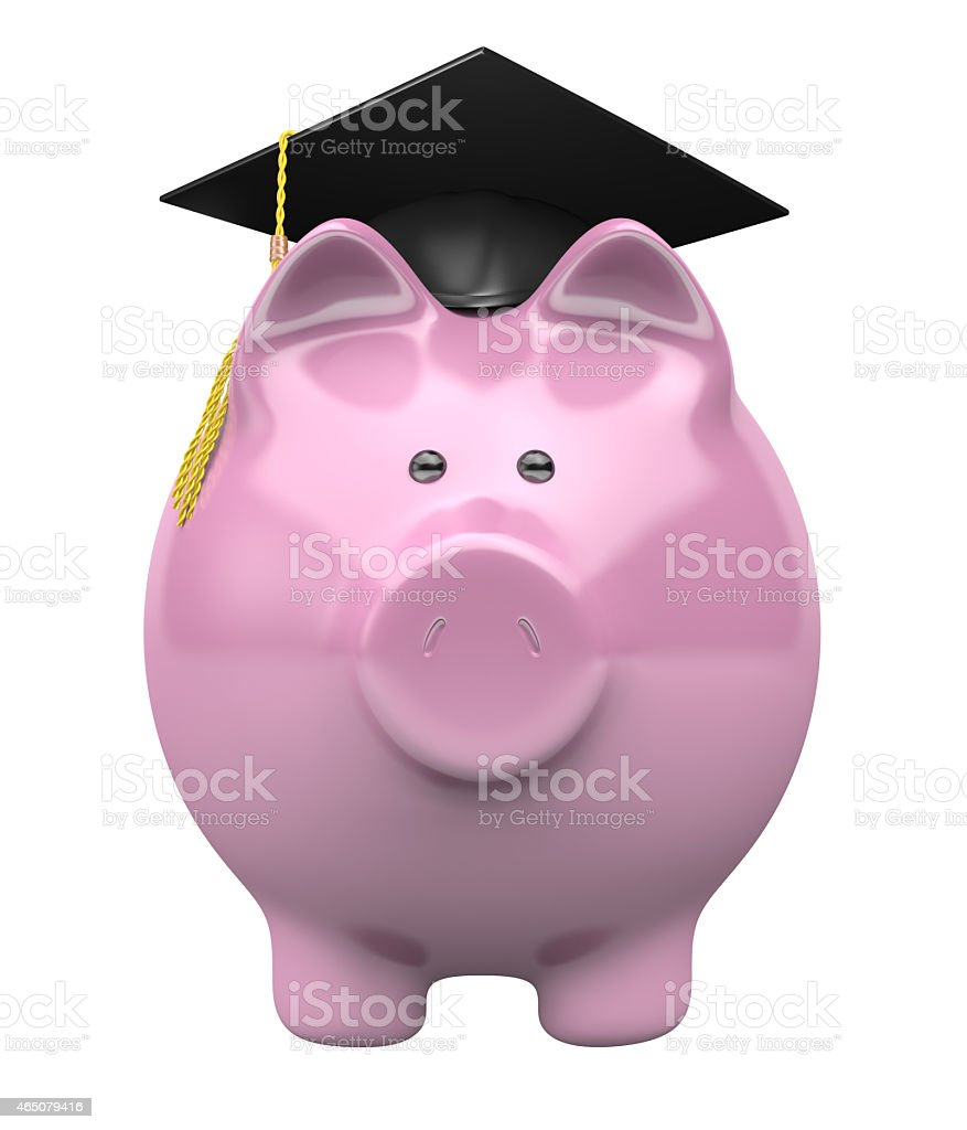 College savings fund piggy bank wearing a graduation cap stock photo
