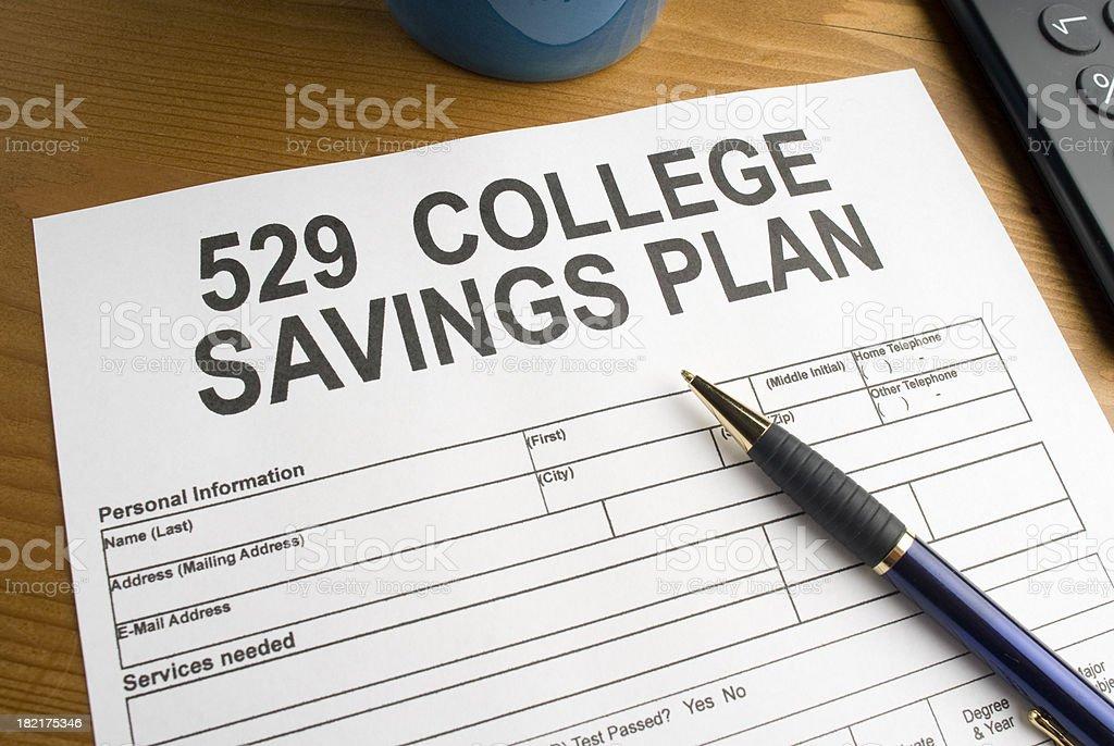 College Savings Plan Application stock photo