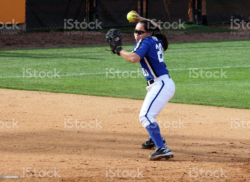 College Softball Player Throwing stock photo