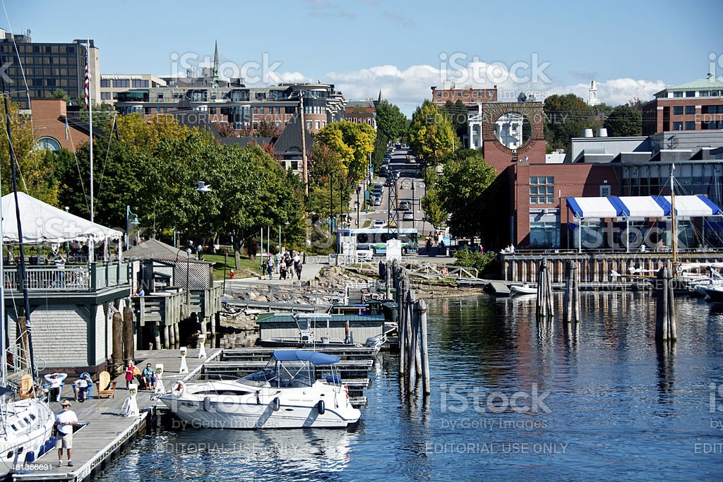 College Street from Lake Champlain in Burlington, Vermont stock photo